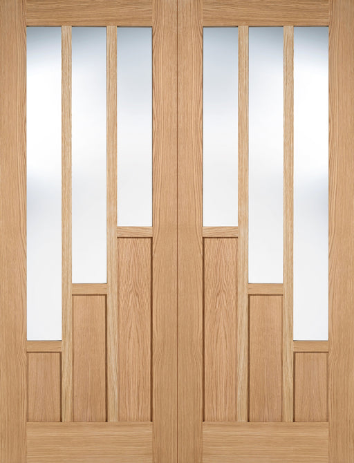 Oak Coventry Glazed 3L Pairs Unfinished Internal French Door