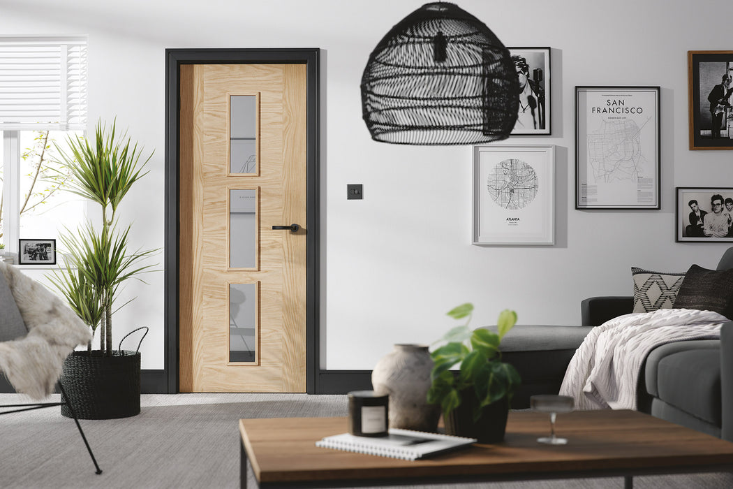 Oak Sofia Glazed 3L Internal Door