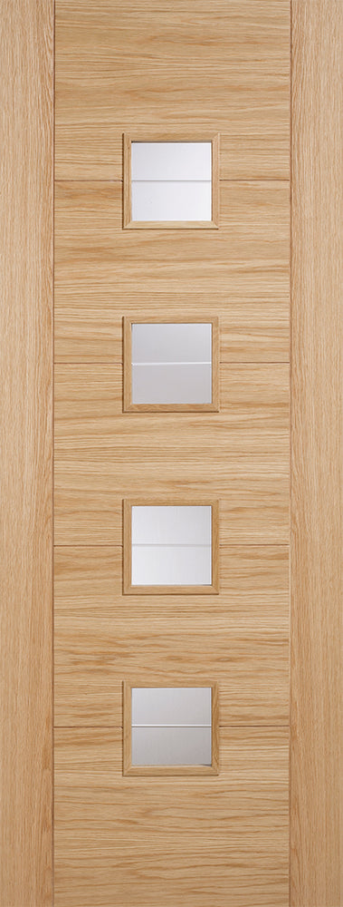 Oak Vancouver Glazed 4L Brilliant Cut Glass Internal Door