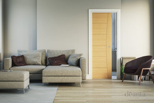 Single Pocket Door Kit inc Handle & Doorjamb 125mm