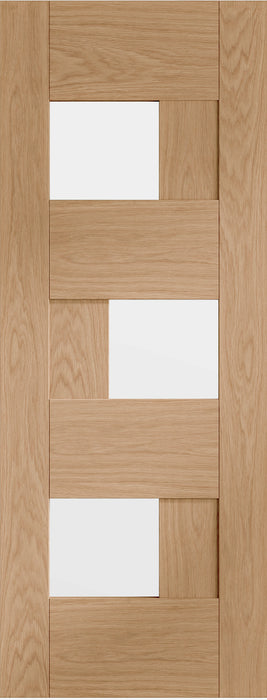 Perugia Pre-finished Oak Door with Clear Glass