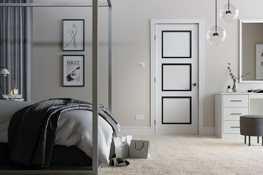 White and Black Luxemburg 3P Internal Door Fire Rated