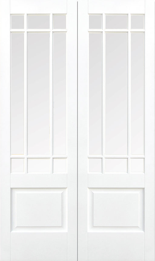 White Downham Glazed 9L Pair Internal French Door
