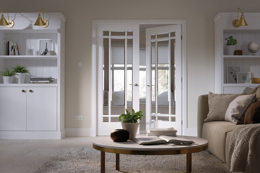 White Manhattan Glazed 9L Pair Internal French Door