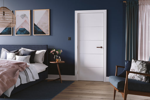 White Moulded Horizontal Four Line Internal Door