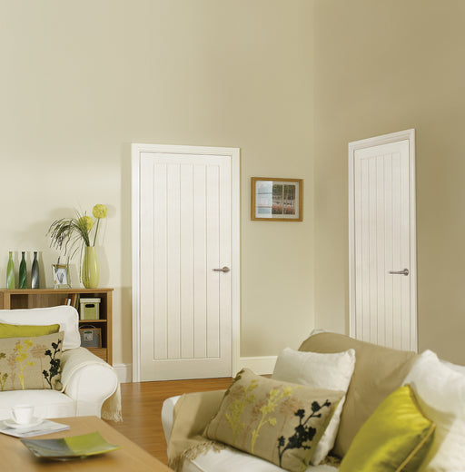 White Moulded Textured Vertical 5P Internal Door