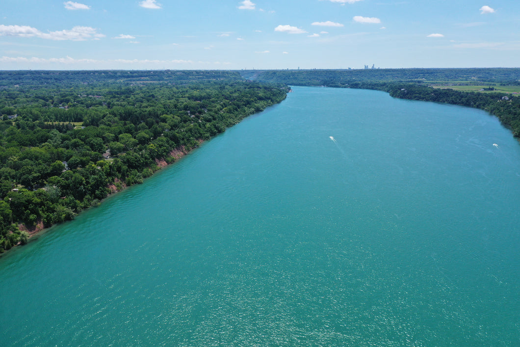 Niagara River in Summer looking toward Niagara Falls