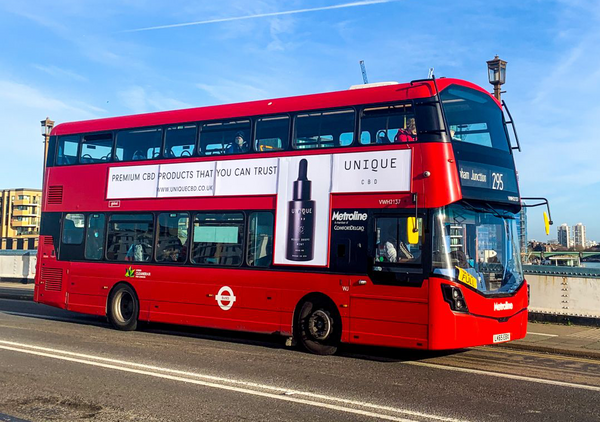 Unique cbd advertisement on london bus
