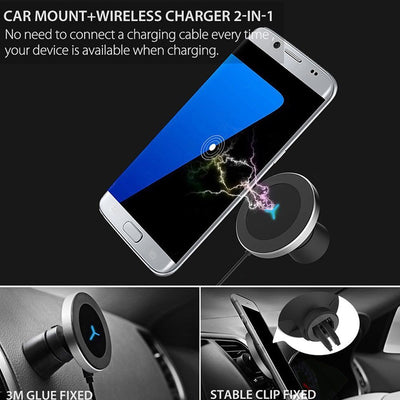 360 Degree Rotation Car Wireless Charger For iPhone XsMax/Xs/Xr/8plus and Samsung S10/S9/S8 10W