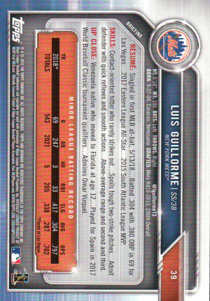 2019 Bowman - Luis Guillorme (Rookie, RC) #39