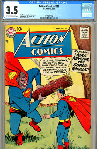 Action Comics #238 CGC graded 3.5 - SOLD!