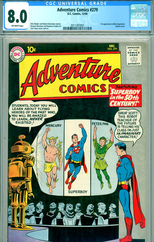 Adventure Comics #279 CGC graded 8.0 first white kryptonite SOLD!