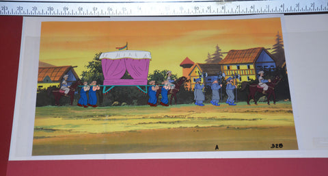 "Original production cel -""Aladdin""- by Golden Films 033 OVER-SIZED 22"" x 9"""