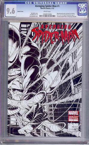 Avenging Spider-Man #1  CGC graded 9.6 - Sketch Cover - SOLD!
