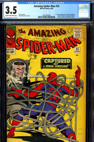 Amazing Spider-Man #025 CGC graded 3.5 first cameo of Mary Jane Watson  SOLD!