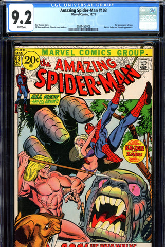 Amazing Spider-Man #103 CGC graded 9.2 white pages - SOLD!