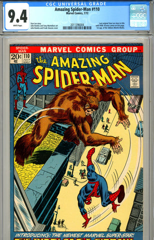 Amazing Spider-Man #110 CGC graded 9.4 first Gibbon SOLD!