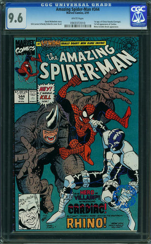 Amazing Spider-Man #344 CGC graded 9.6  first C. Kasady (Carnage) - SOLD!
