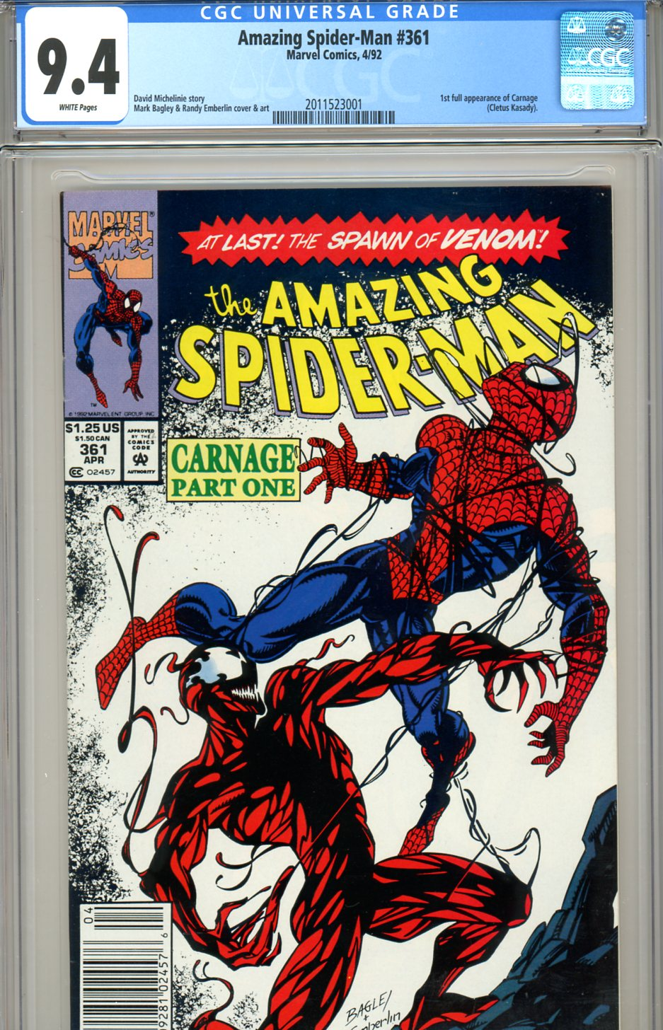 Amazing Spider-Man #361 CGC graded 9.4 first print SOLD!