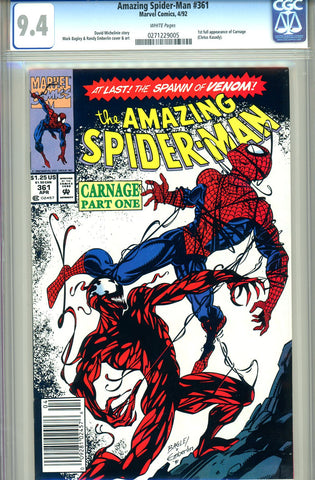 Amazing Spider-Man #361   CGC graded 9.4  first Carnage SOLD!