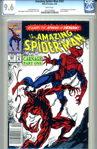 Amazing Spider-Man #361   CGC graded 9.6  first Carnage - SOLD!