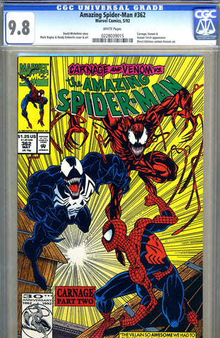Amazing Spider-Man #362   CGC graded 9.8 - 2nd Carnage - SOLD!