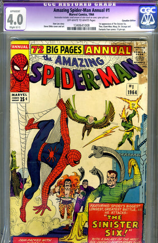 Amazing Spider-Man Annual #1   CGC graded 4.0 first Sinister Six SOLD!