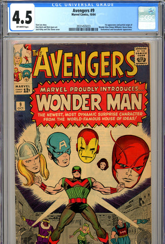 Avengers #09 CGC graded 4.5 origin of Wonder Man SOLD!
