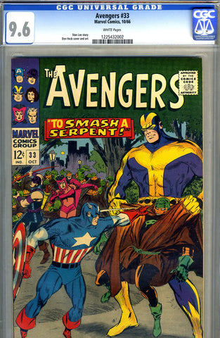 Avengers #33   CGC graded 9.6 - white pages - SOLD!
