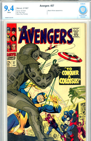 Avengers #37   CBCS  graded 9.4  white pages SOLD!