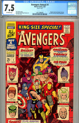 Avengers Annual #01 CGC graded 7.5 white pages SOLD!