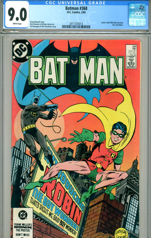 Batman #368 CGC graded 9.0 Jason Todd becomes official