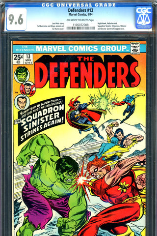 Defenders #13 CGC graded 9.6 - battle cover - SOLD!