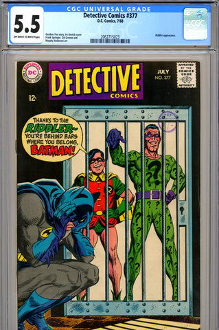 Detective Comics #377 CGC graded 5.5 Riddler cover and story