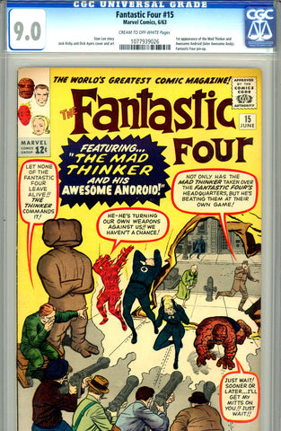 Fantastic Four #015   CGC graded 9.0  first Mad Thinker - SOLD!