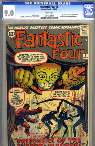 Fantastic Four #008   CGC graded 9.0 - white pages - SOLD!