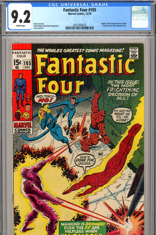 Fantastic Four #105 CGC graded 9.2 white pages - SOLD!