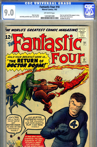Fantastic Four #010   CGC graded 9.0 - third Doctor Doom - SOLD!