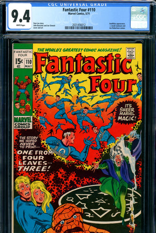 Fantastic Four #110 CGC graded 9.4 white pages SOLD!