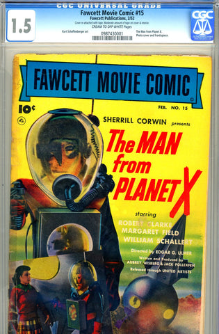 Fawcett Movie Comic #15   CGC graded 1.5 ( Man From Planet X )  SCARCE!
