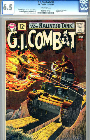 G.I. Combat #091  CGC graded 6.5 first Haunted Tank cover SOLD!