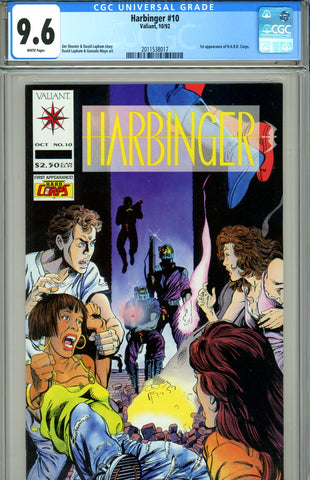 Harbinger #10 CGC graded 9.6 - first H.A.R.D. Corps