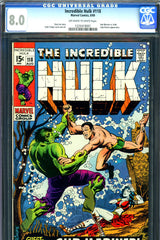 Incredible Hulk #118 CGC graded 8.0 vs Sub-Mariner