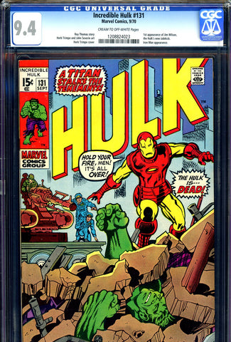 Incredible Hulk #131 CGC graded 9.4 - 1st Jim Wilson - SOLD!