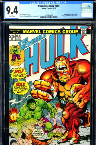 Incredible Hulk #169 CGC graded 9.4 - first Bi-Beast SOLD!