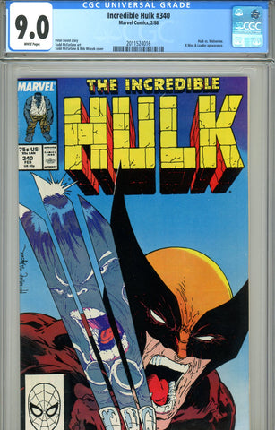 Incredible Hulk #340 CGC graded 9.0 vs Wolverine SOLD!