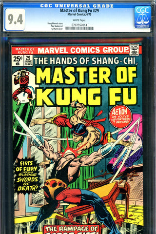 Master of Kung Fu #29 CGC graded 9.4 first Razor-Fist SOLD!