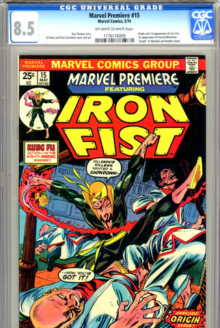 Marvel Premiere #15 CGC graded 8.5 origin and first Iron Fist SOLD!
