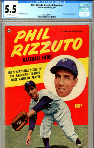 Phil Rizzuto, Baseball Hero #nn CGC graded 5.5 scarce 1951 SOLD!