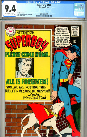 Superboy  #146 CGC graded 9.4 Neal Adams cover